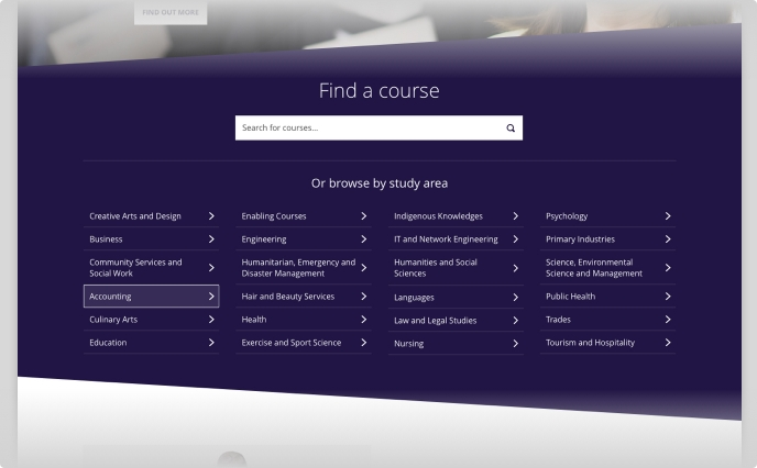 Charles Darwin University Course Search component