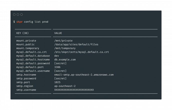 A terminal showing the output from Skpr config list.