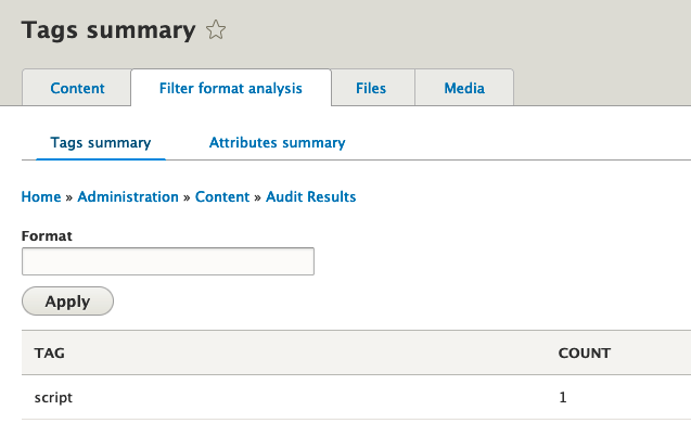 Screenshot of most common stripped tags